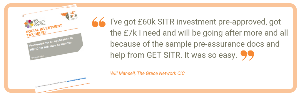I've got £60k SITR investment pre-approved, got the £7k I need and will be going after more and all because of the sample pre-assurance docs and help from GET SITR